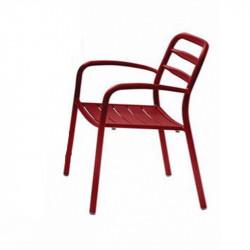 Chaise de jardin rouge empilable - BASEL - lemobilierdejardin.fr
