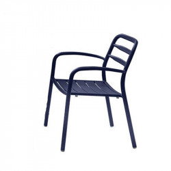 Chaise de jardin bleu empilable - BASEL - lemobilierdejardin.fr