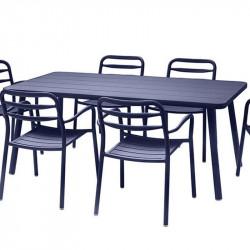Table de jardin bleu - BASEL - lemobilierdejardin.fr
