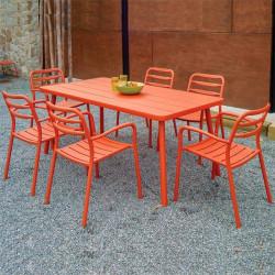 Table de jardin orange - BASEL - lemobilierdejardin.fr