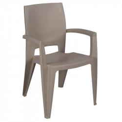 Lot de 6 fauteuil de jardin gris - AVIVA