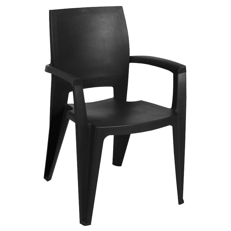 Lot de 6 fauteuil de jardin noir - AVIVA
