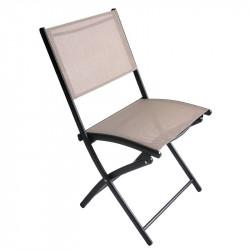 Chaise de jardin pliante taupe - AMBANJA - lemobilierdejardin.fr