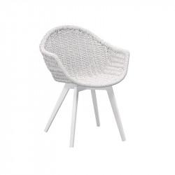 Chaise de jardin blanc pieds blanc - CAMPUS - lemobilierdejardin.fr