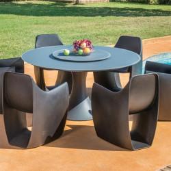 Table de Jardin Ronde en Aluminium & Verre - FANO - lemobilierdejardin.fr