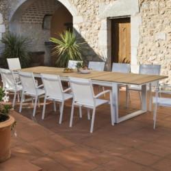Table de jardin extensible - FERMO Teck - lemobilierdejardin.fr